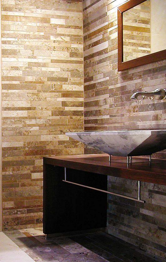 Mosaici in pietra naturale per rivestimento bagni - Rivestimenti per bagno piccolo ...