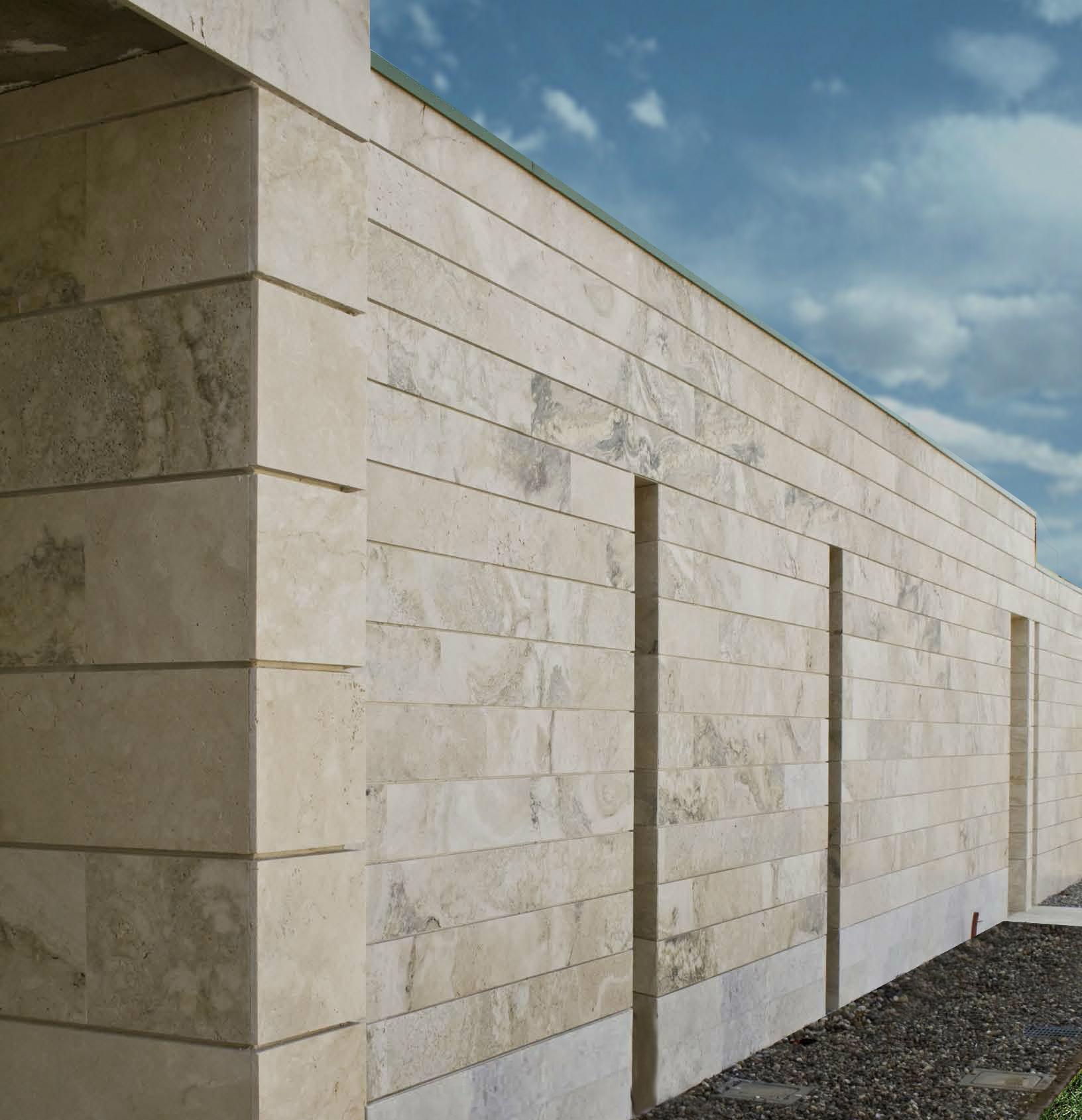 facciata in travertino progetti pietre di rapolano rivestimenti architetttura