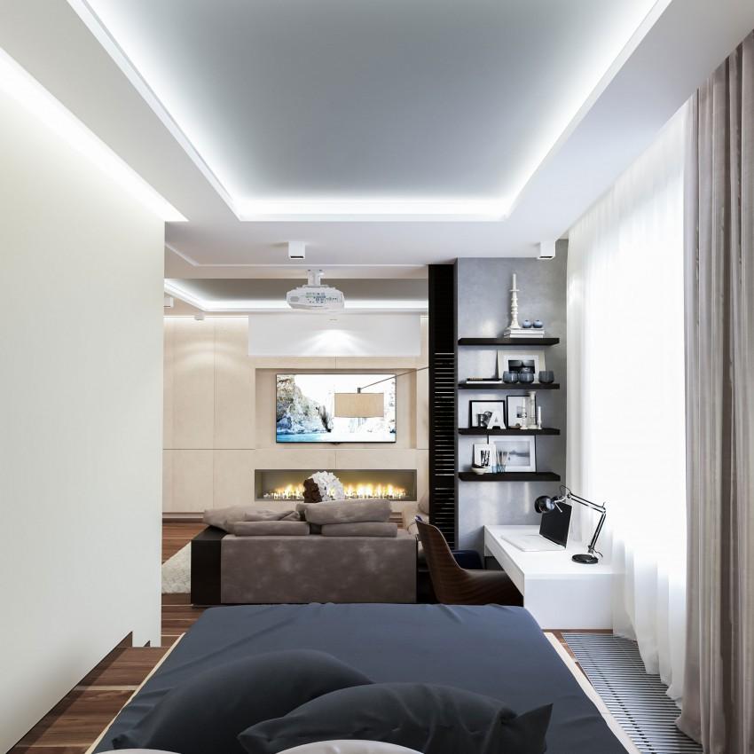 Piccolo appartamento a mosca con interni contemporanei for Piani di un appartamento con una camera da letto