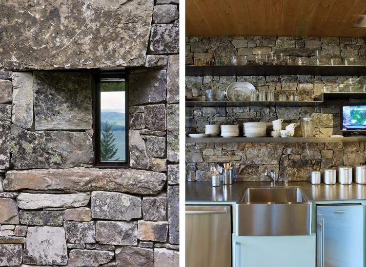 cucina rustica con parete in pietra a spacco chalet montagna montana