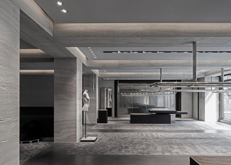 travertino grigio negozio londra alexander wang