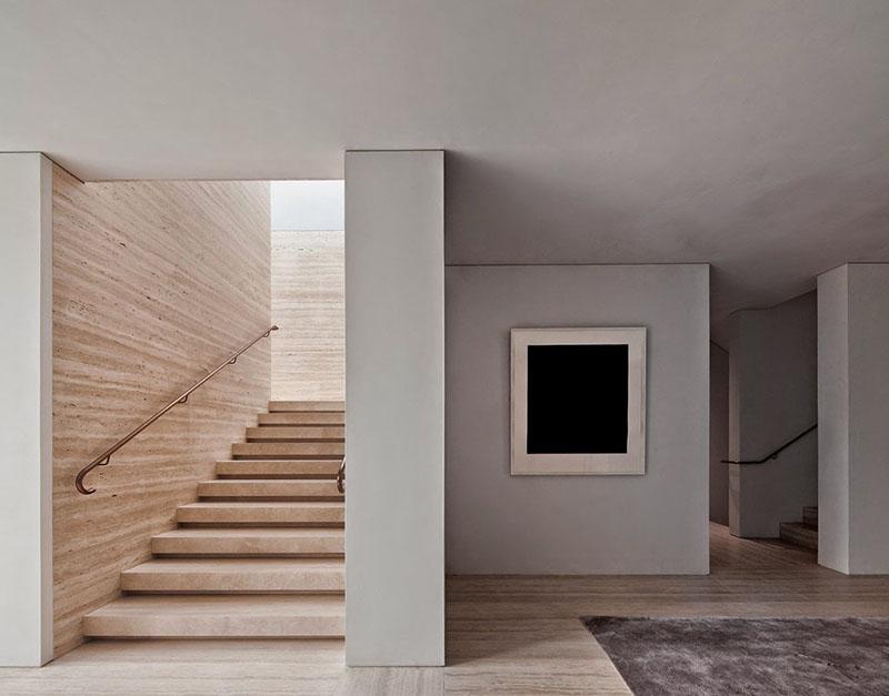 abitazione privata a londra kensington in travertino quercia e cemento david chipperfield
