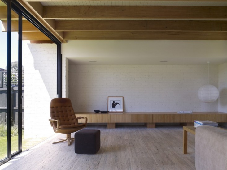 studio kennedy nolan residenza hampton pavimenti in travertino open space