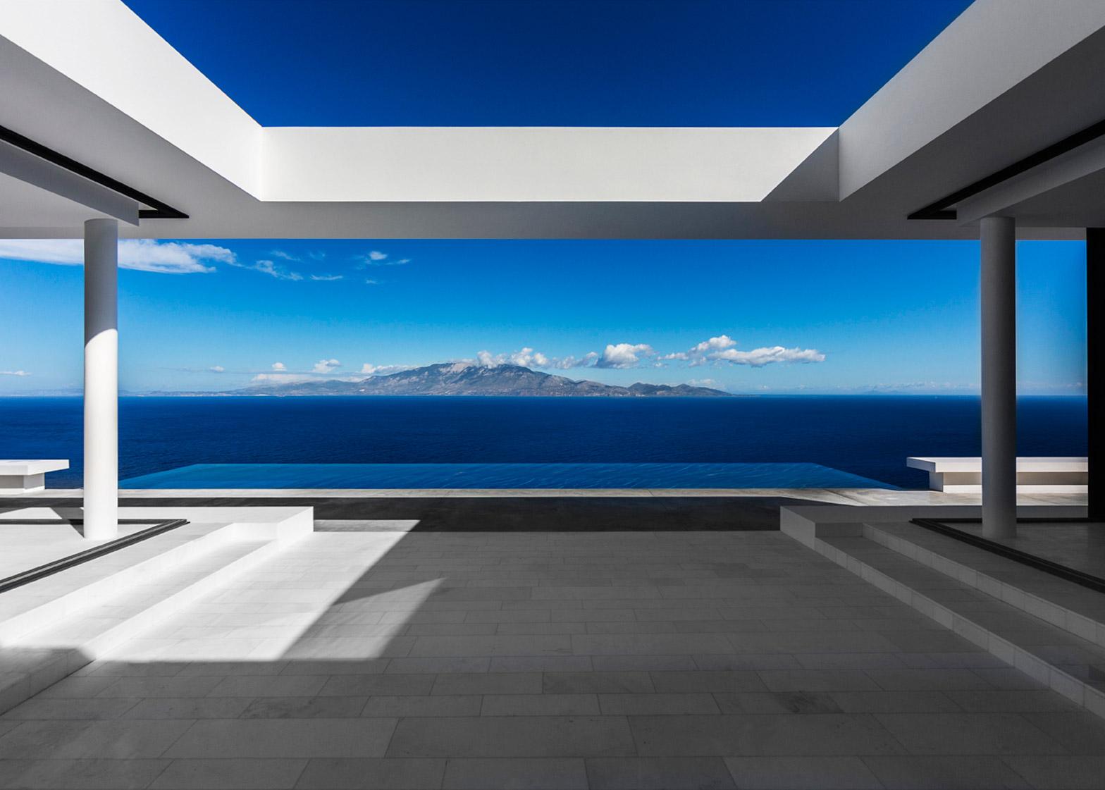 architettura minimale blu bianco olivier dwek zacinto grecia