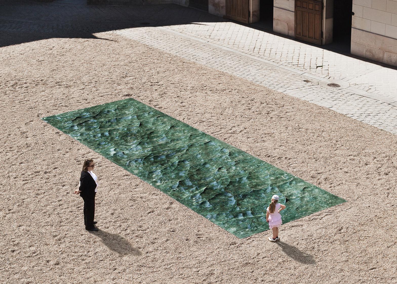 installazione piscina marmo designer mathieu lehanneur festival giardino francia loira