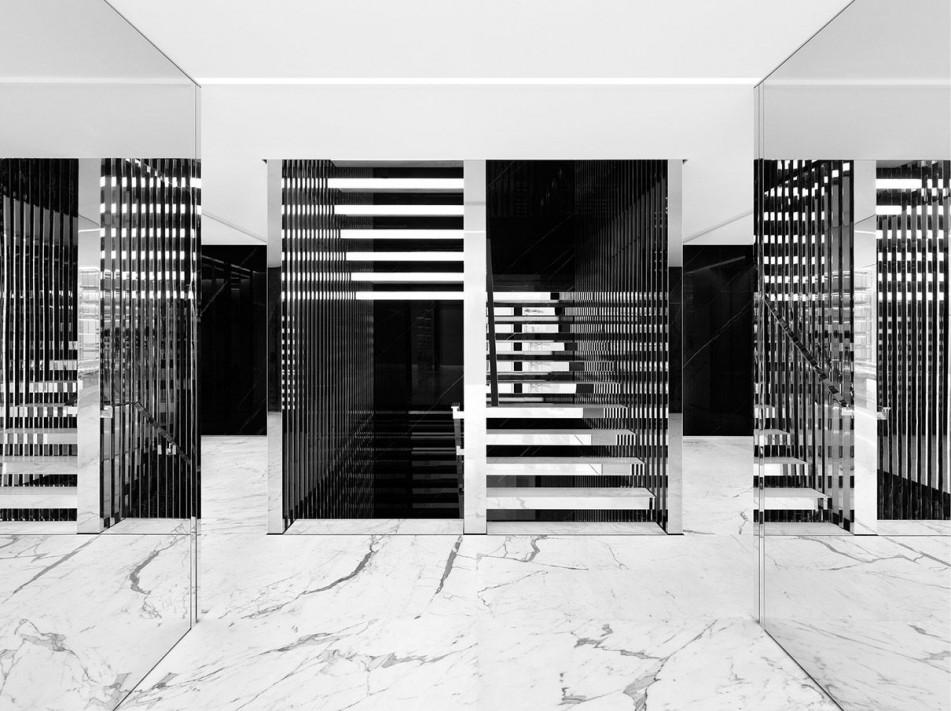 interni in mamro bianco e nero yves saint laurent parigi negozio