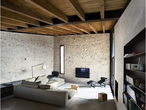 soggiorno abitazione stile rustico interni in pietra